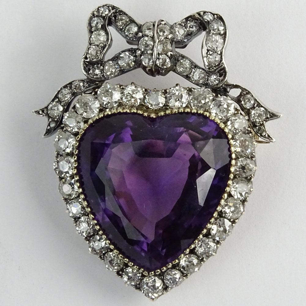 Antique Victorian Heart Shape Amethyst Amp Diamond 14 Karat