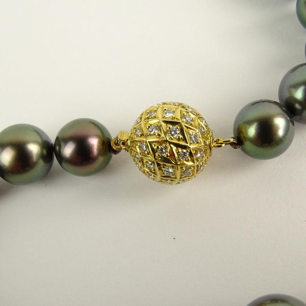 Mikimoto Tahitian Pearl Necklace: Mikimoto Tahitian Black Pearl Necklace With Diamond And 18